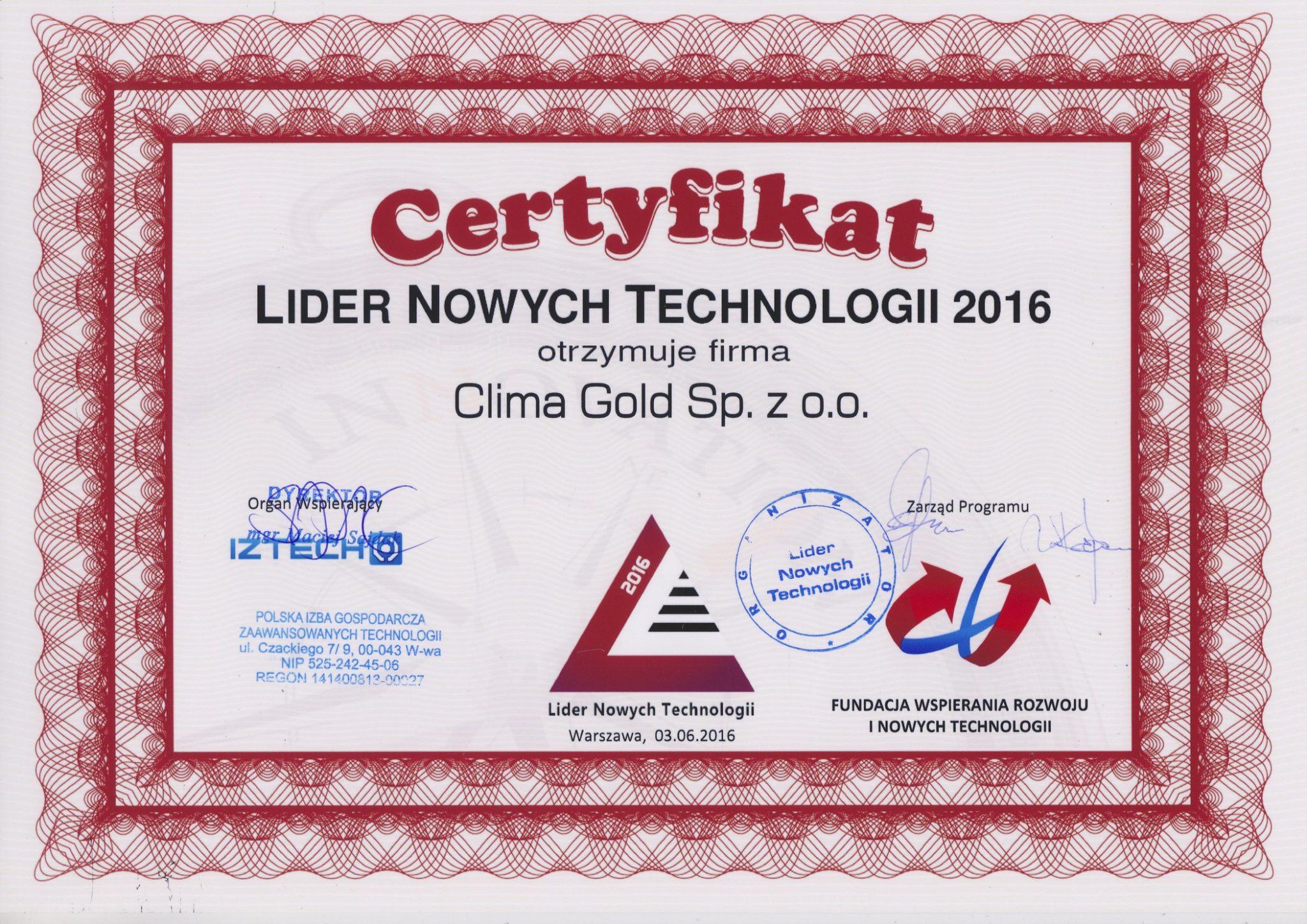 Lider Nowych Technologii 2016 — nagroda dla Clima Gold!